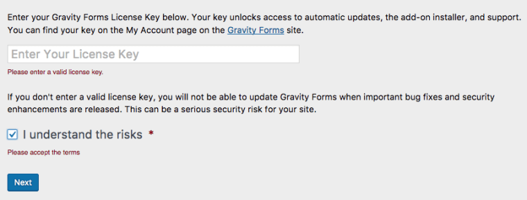 Bỏ qua nhập key của Gravity Forms