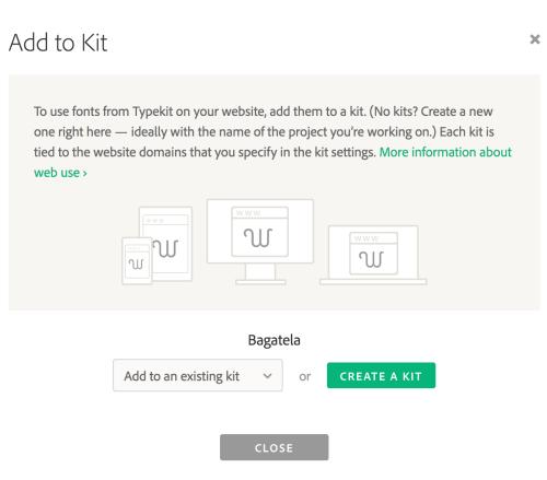 Thêm font vào Typekit