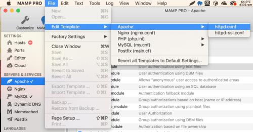 Sửa file httpd.conf trong MAMP Pro