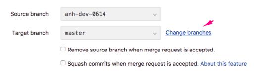 Đổi branch trong Merge Request GitLab