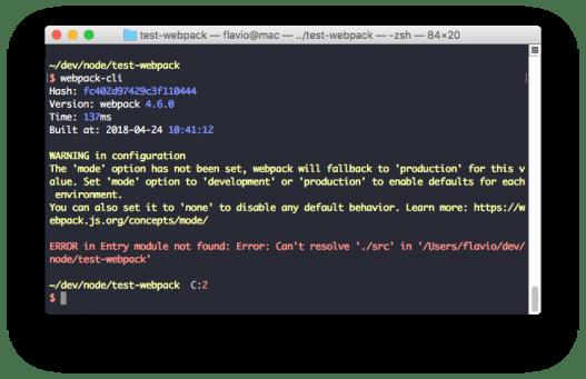 Giao diện webpack cli