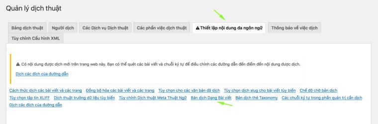 Truy cập menu Bản dịch dạng bài viết trong WPML