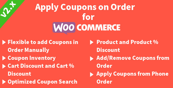Apply Coupons on Order for WooCommerce