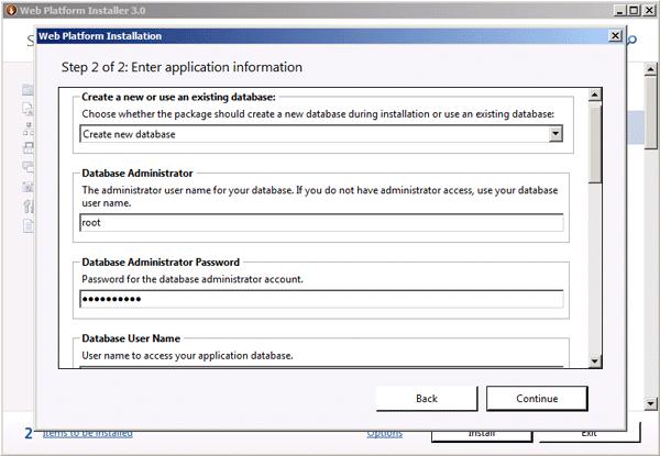 Application configuration