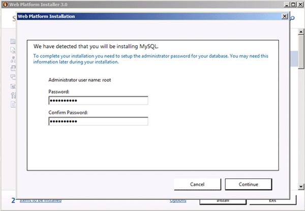 MySQL root password setup