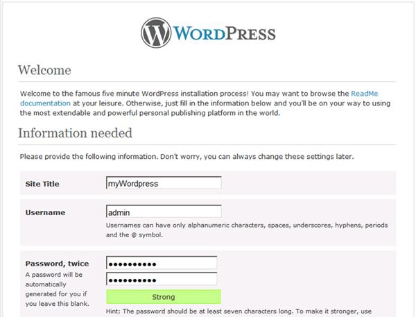 WordPress site configuration