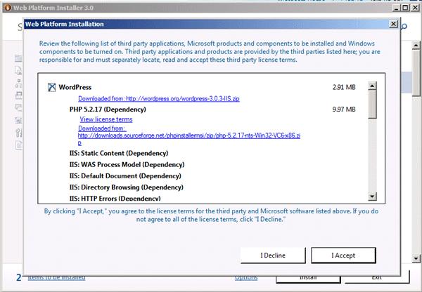 Application installation summary