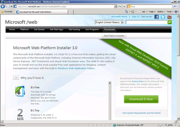 Microsoft Web Platform Installer 3.0 webpage