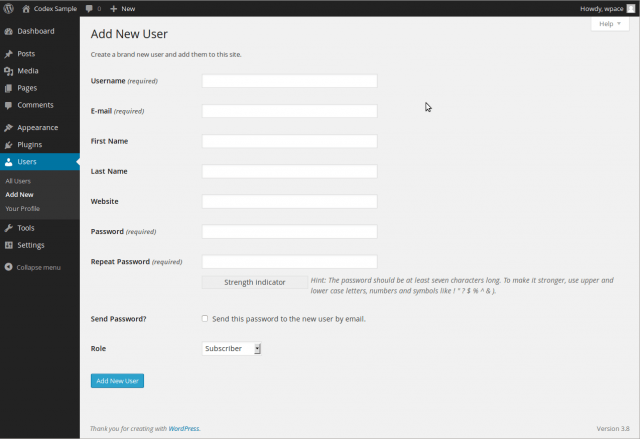 Users Add New Screen « WordPress Codex