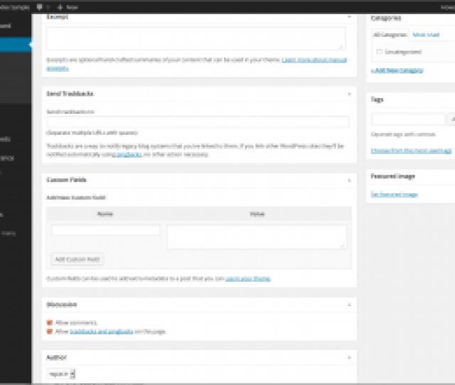 Wordpress Admin Writing Post Advanced Panel Bottom Of Page