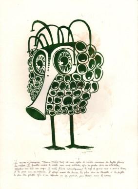 """La Mouche à trompette """"musca tuba"""" (lat.) est une espèce de mouche rarissime des hautes plaines du Tibet. La femelle endort le mâle avec une mélodie afin de pondre dans ses alvéoles, réparties sur tout son corps. Le mâle féconde automatiquement les œufs, et, quant ceux-ci sont à terme, il les perce avec ses antennes. Il attrape ensuite les larves, les place dans sa trompette et les projette le plus loin possible afin d'en répandre un peu partout pour étendre ainsi la colonie."""