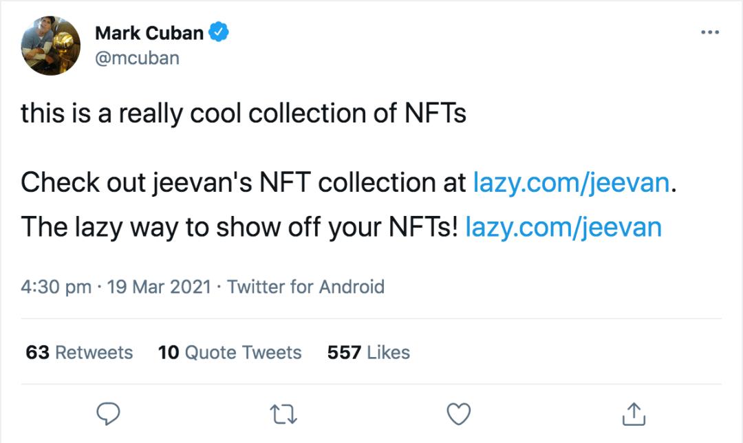 Screenshoot of Mark Cuban Tweet