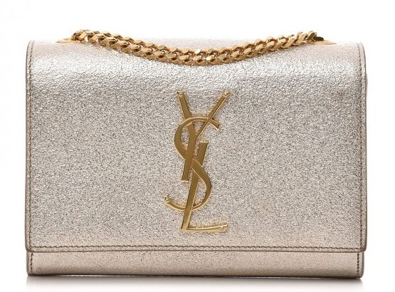 Saint Laurent Kate Pale Gold Metallic Satchel