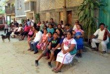 Amuzgo community atending the mural presentation