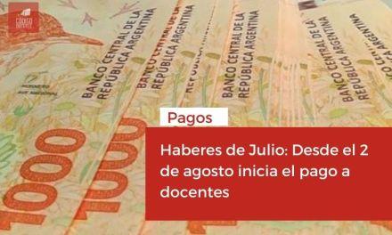 Haberes de Julio: Desde el 2 de agosto inicia el pago a docentes