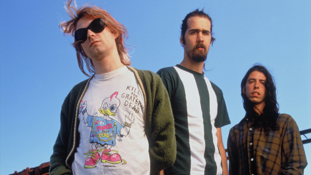 La banda de grunge Nirvana, con Kurt Cobain