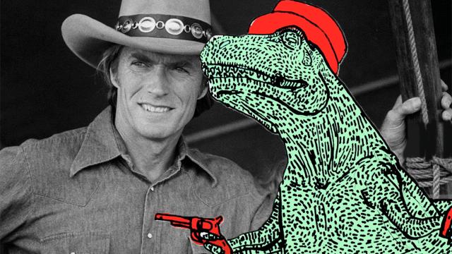 Clint Eastwood y un dinosaurio vaquero