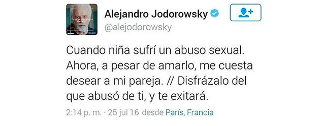 Mensaje en Twitter de Alejandro Jodorowky