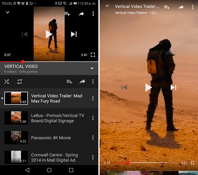 YouTube, videos, verticales