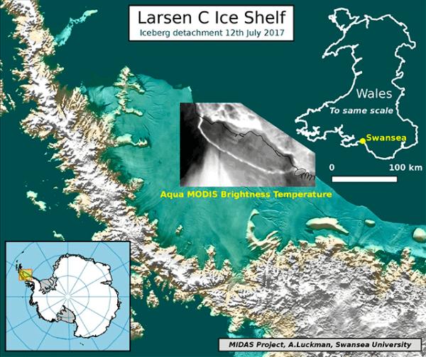 Mapa del fragmento de Larsen C superpuesto con un equipo termal de la NASA