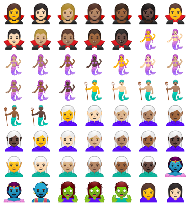 Llegaron los vampiros, elfos, dinosaurios y muchos más emojis al Android.