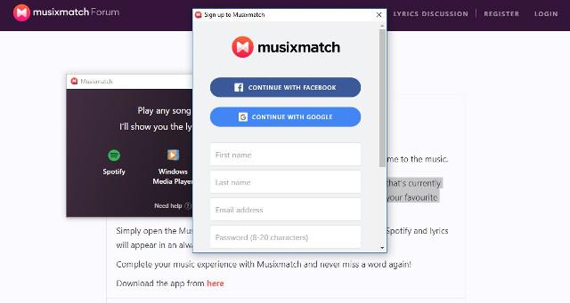 Puedes anclar Musixmatch a tu cuenta de Facebook o Google