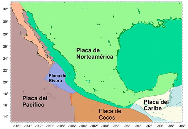 Placas tectónicas que interactúan en territorio mexicano.