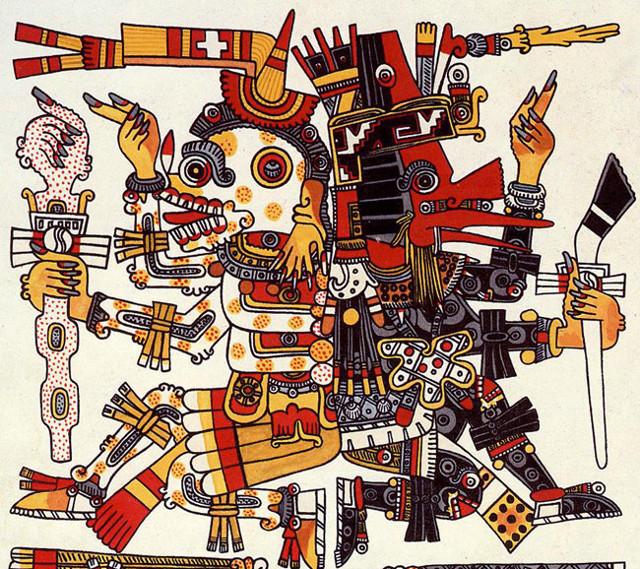 Mictlantecuhtli y Quetzalcoatl, como aparecen en el Códice Borgia