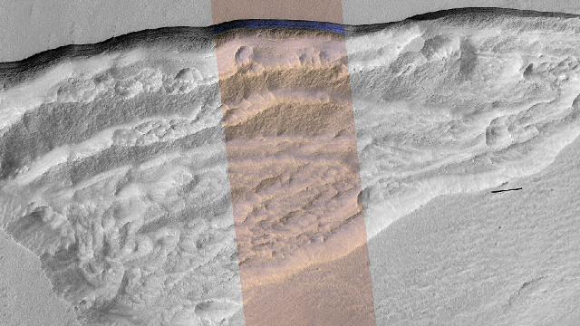 Pozo de hielo de agua detectado por la cámara HiRISE