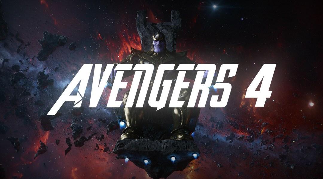 Thanos bajo el logo de Avengers