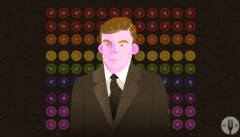 dibujo de Alan Turing y su Maquina Enigma