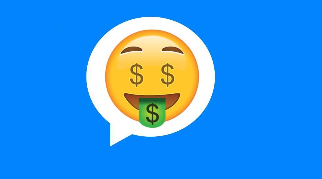 Un emoji de avaricia en Facebook Messenger