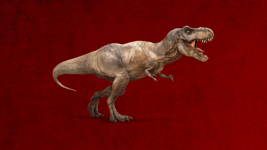 Un Tyranosaurio Rex con fondo rojo sangre