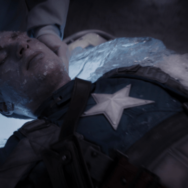 Capitan América Congelado en una escena de la película