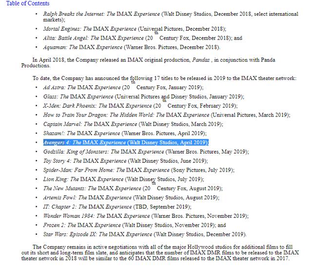 Documento de IMAX  sobre sus siguientes estrenos (IMAX)
