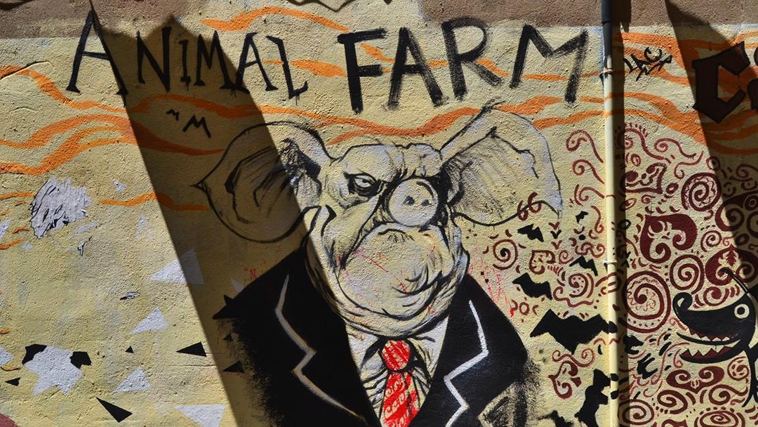 Rebelion en la granja, en un graffiti callejero