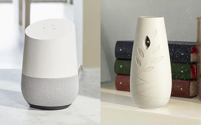 Google Home bocinas inteligentes aromatizantes