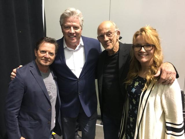 Michael J. Fox, Thomas Wilson, Christopher Lloyd, Thomas Wilson y Lea Thompson