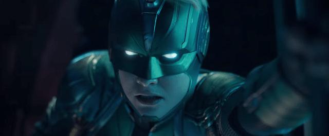 Capitana Marvel con su casco oficial de la milicia Kree (Marvel)