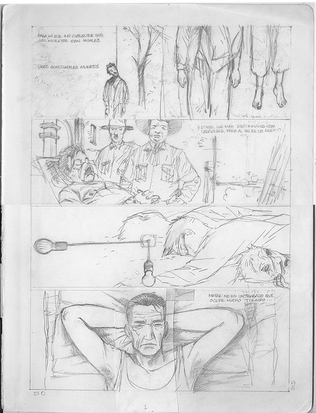Lápiz original de Ricardo Peláez en la que se narra el origen de Filiberto García. Imagen escaneada del original proporcionada por Ricardo Peláez.