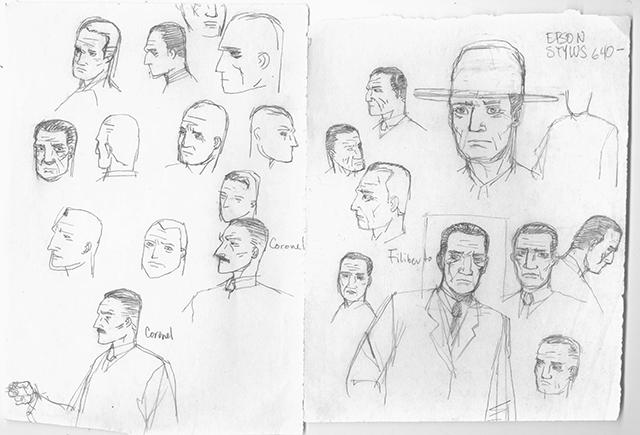 Bocetos originales del rosto de Filiberto García, protagonista de Complot Mongol, en sus diferentes edades. Imagen escaneada del original proporcionada por Ricardo Peláez.