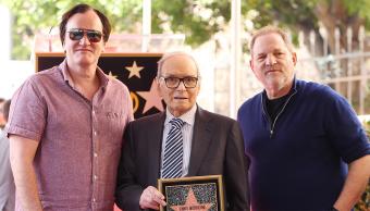 Quentin Tarantino, Ennio Morricone y Harvey Weinstein