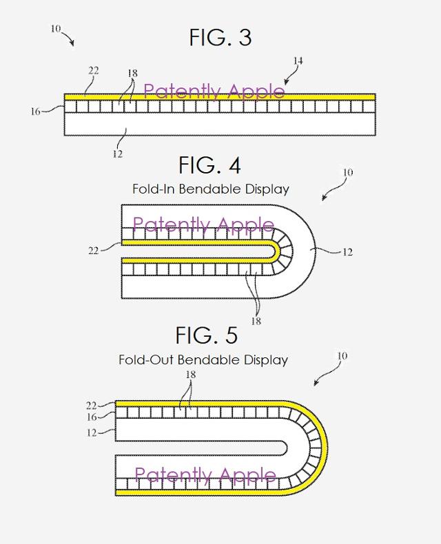 Patente del iPhone 10 con pantalla plegable.