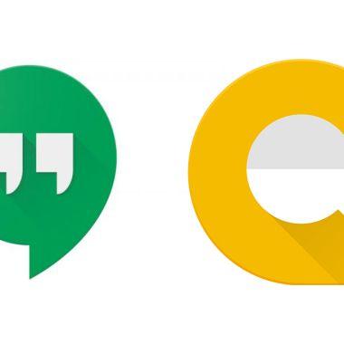 Los dos logos de Google Hangouts y Allo