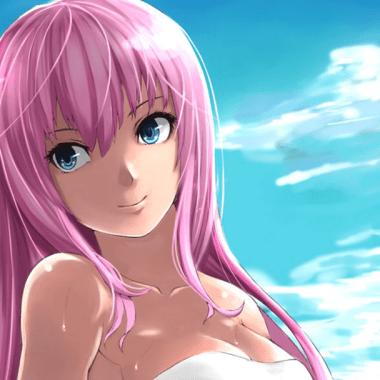 Un dibujo de Vocaloid Megurine con un personaje de anime