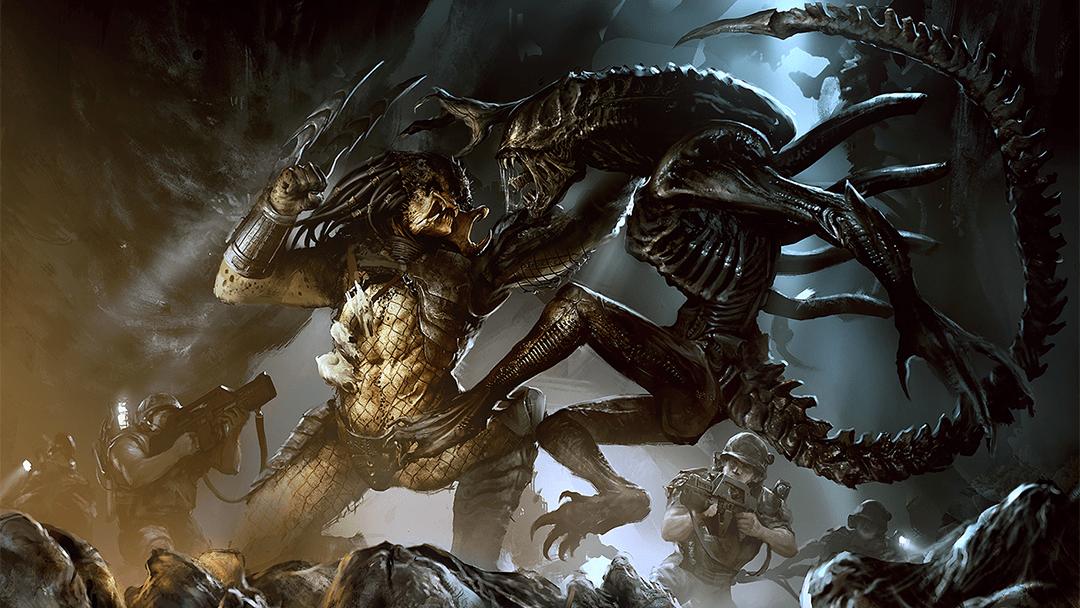 El Depredador golpeando a un alien en un videojuego