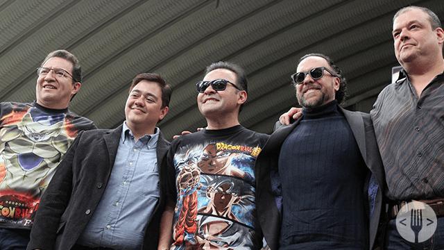 Eduardo Garza, Gerardo Reyero, Mario Castañeda, Rene Garcia y Ricardo Brust en la presentación de Dragon Ball Super: Broly.