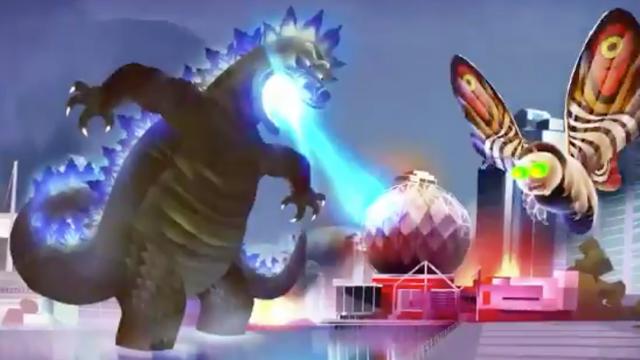 Rick convertido en Godzilla con Morty Mothra