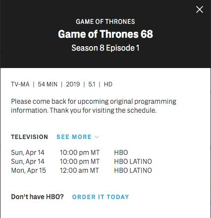 Game of Thrones, Temporada 8, Episodios, Duración