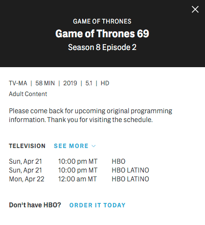 Game of Thrones, Temporada 8, Episodios, Duración